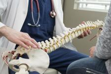 Doctor showing patient spine diagram