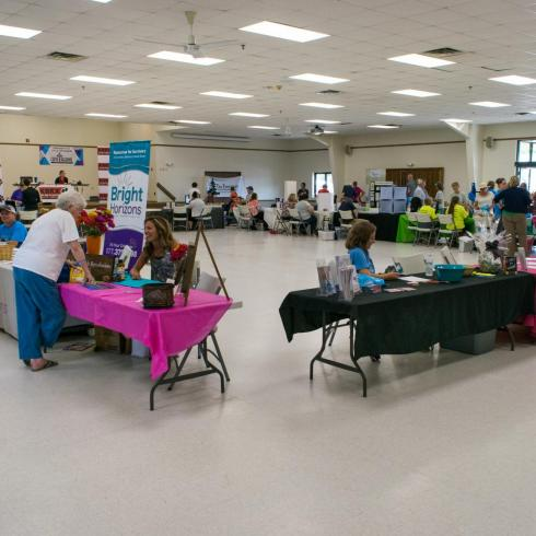 booths set up inside community center