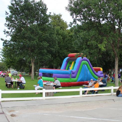 bounce house in Atkinson City Park during HealthaPalooza event
